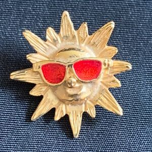 Vintage 80's Smiley Sun Pin With Sunglasses